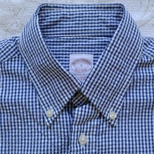 Brooks Brothers Shirt Button Down Blue Check S